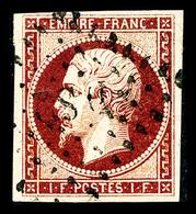 O N°18a, 1F Carmin Foncé, Quatre Jolies Marges, TTB (signé Calves/certificat)  Qualité: O  Cote: 4700 Euros - 1853-1860 Napoleon III