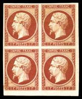 * N°18d, 1F Carmin Impression De 1862 En Bloc De Quatre Coin De Feuille, Grandes Marges, Fraîcheur Postale, SUPERBE, R.R - 1853-1860 Napoléon III