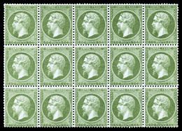 ** N°19, 1c Olive, Bloc De Quinze (4 Ex*), Bon Centrage, Fraîcheur Postale. SUP (certificat)   Qualité: ** - 1862 Napoleon III