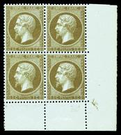 ** N°19b, 1c Mordoré En Bloc De Quatre Coin De Feuille, Fraîcheur Postale. SUP (signé Calves/certificat)  Qualité: ** - 1862 Napoléon III