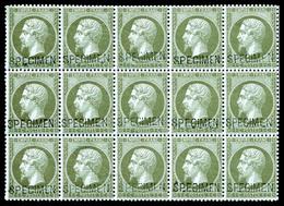 ** N°19f, 1c Vertolive Surchargé 'SPECIMEN' En Bloc De 15 Exemplaires (3ex*), Fraîcheur Postale. SUPERBE. R.R. (certific - 1862 Napoleone III