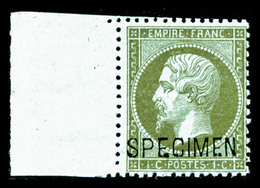 ** N°19f, 1c Olive Surchargé 'SPECIMEN', Bord De Feuille Latéral, Fraîcheur Postale, SUP (certificat)  Qualité: ** - 1862 Napoléon III