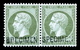 ** N°19f, 1c Vert Olive Surchargé 'SPÉCIMEN' Doublée En Paire Horizontale, Fraîcheur Postale, Très Bon Centrage, Superbe - 1862 Napoléon III