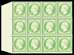 ** N°20, 5c Vert En Bloc De 12 Exemplaires Bord De Feuille, Fraîcheur Postale. SUP (certificat)  Qualité: ** - 1862 Napoleon III