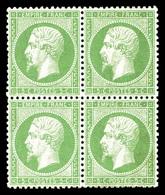 ** N°20, 5c Vert En Bloc De Quatre, Très Bon Centrage. SUP (certificats)  Qualité: ** - 1862 Napoléon III