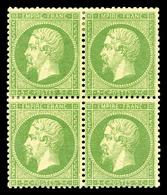 * N°20, 5c Vert En Bloc De Quatre, Très Frais. TTB (certificat)  Qualité: *  Cote: 1750 Euros - 1862 Napoleon III