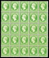 ** N°20g, 5c Vert Jaune Sur Verdâtre En Bloc De 25 Exemplaires (8 Ex*), Fraîcheur Postale. SUPERBE. R.R. (signé Calves/c - 1862 Napoleon III