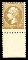 ** N°21, 10c Bistre: VARIÉTÉ PIQUAGE DECALE (timbre Plus Grand), Bas De Feuille, FRAÎCHEUR POSTALE, SUPERBE (signé Calve - 1862 Napoléon III