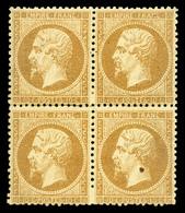 * N°21, 10c Bistre En Bloc De Quatre (1ex Paille Dans Le Papier) Avec Variété De Perforation. TTB (signé Brun/certificat - 1862 Napoléon III