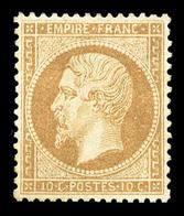 (*) N°21, 10c Bistre, Très Bon Centrage, Jolie Pièce (certificat)  Qualité: (*) - 1862 Napoleone III