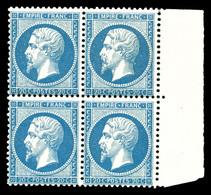 ** N°22, 20c Bleu En Bloc De Quatre Bdf, Frais. TTB (signé Calves/certificat)   Qualité: ** - 1862 Napoléon III