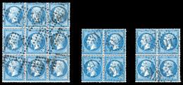 O N°22, 20c Bleu: Bloc De 9 + 2 Blocs De Quatre. TTB  Qualité: O - 1862 Napoleon III