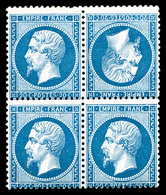 * N°22b, 20c Bleu, Têtebêche Tenant à Normaux Dans Un Bloc De Quatre (1ex**), RARE Et SUPERBE (signé Calves/certificat)  - 1862 Napoléon III