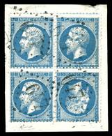 O N°22b, 20c Bleu En Paire Têtebêche Horizontale Tenant à Normaux En Bd4 Sur Son Support, TTB (signé Calves/certificat)  - 1862 Napoleon III