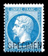 ** N°22d, 20c Bleu Surchargé 'SPECIMEN'. TTB (certificat)  Qualité: ** - 1862 Napoleone III