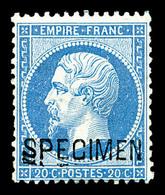 * N°22d, 20c Bleu Surchargé 'SPECIMEN'. TB (signé Scheller)  Qualité: *  Cote: 400 Euros - 1862 Napoleon III