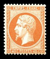 ** N°23, 40c Orange, Fraîcheur Postale. SUPERBE (certificat)  Qualité: ** - 1862 Napoleon III