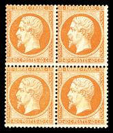* N°23, 40c Orange, Bloc De Quatre. TTB (signé Calves/certificat)  Qualité: *  Cote: 13500 Euros - 1862 Napoleon III