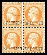 ** N°23d, 40c Orange Surchargé 'SPECIMEN' En Bloc De Quatre (2ex*), Fraîcheur Postale. R.R. SUP (certificat)  Qualité: * - 1862 Napoleone III