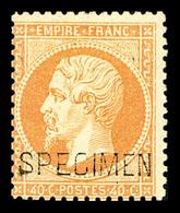 * N°23d, 40c Orange Surchargé 'SPECIMEN', TB (signé/certificat)  Qualité: *  Cote: 1300 Euros - 1862 Napoleon III