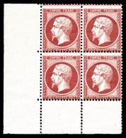 ** N°24, 80c Rose En Bloc De Quatre Coin De Feuille, FRAÎCHEUR POSTALE, SUPERBE (signé Calves/Brun/certificat)   Qualité - 1862 Napoleone III