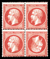 ** N°24b, 80c Rose: TÊTEBÊCHE Tenant à Normaux Dans Un Bloc De Quatre, Très Grande Rareté De La Philatélie Francaise. MA - 1862 Napoleon III