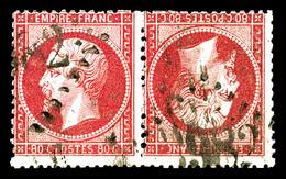 O N°24b, 80c Rose, Paire Têtebêche Horizontale, Quelques Dents à Peine Courtes Sinon TB (certificats)  Qualité: O  Cote: - 1862 Napoléon III