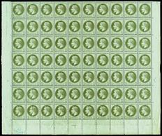 ** N°25, 1c Bronze En Panneau De 70 Exemplaires Bas De Feuille Avec Croix De Repère Et Cachet De Contrôle 'TP' Bleu (2ex - 1863-1870 Napoléon III Con Laureles