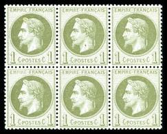 ** N°25, 1c Bronze En Bloc De Six (1ex*), Fraîcheur Postale, Très Bon Centrage. SUP (certificat)  Qualité: ** - 1863-1870 Napoleon III With Laurels