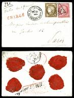 O 30c +80c Cérès (N°56 Et 57) Obl GC '4158' + Càd VERSAILLES ASSEMBLEE NATIONALE' Sur Lettre Chargée Pour Paris. SUP. R. - 1849-1876: Période Classique