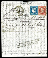 O REPÊCHAGE DE QUILLEBEUF: Boule De Moulins D'Aix En Provence 07.01.1871 Avec 20c Bordeaux Type I +80c Lauré à Destinati - Postmark Collection (Covers)