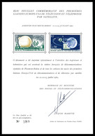 ** Feuillet Commémoratif Des Premières Liaisons De Télécommunications Spaciales, Tirage 400 Exemplaires. R.R. SUP (certi - 1900-02 Mouchon