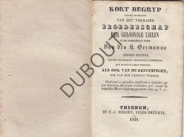 TIENEN/TIRLEMONT Kort Begrip Broederschap Gelovige Zielen Heilige Germanus 1838  (R74) - Libros, Revistas, Cómics