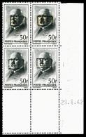 ** N°33, POITIERS: Pétain, 50F Noir Surchargé Type III En Bloc De Quatre Coin De Feuille Daté Du 29.6.42, GRANDE RARETE, - Liberación