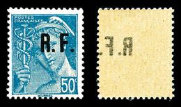 ** N°54, POITIERS Type IV: 50c Mercure, Surcharge Rectoverso. SUP (certificat)  Qualité: **  Cote: 660 Euros - Liberación