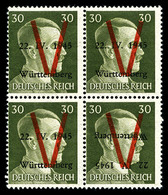 ** N°9, WURTEMBERG (Allemagne), 30pf. Vert Surcharge Renversée Tenant à Normaux En Bloc De Quatre, SUP (signé Calves/cer - Liberación