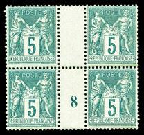 ** N°75, 5c Vert Type II En Bloc De Quatre Millésime '8'. TB  Qualité: **  Cote: 285 Euros - Millésimes