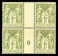 ** N°82, 1F Olive Clair En Bloc De Quatre Millésime '0', Fraîcheur Postale, Très Bon Centrage, SUP (certificat)  Qualité - Millésimes