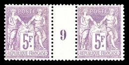 ** N°95, 5F Violet Sur Lilas En Paire Millésime '9'. TTB (signé Brun/certificat)  Qualité: **  Cote: 2200 Euros - Millésimes