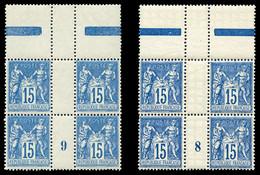 ** N°101, 15c Bleu: 2 Blocs De Quatre Millésimes '8' Et '9', TTB  Qualité: ** - Millésimes