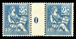 ** N°114, 25c Bleu Type I En Paire Millésime '0' (interpanneau*), TB (certificat)  Qualité: **  Cote: 800 Euros - Millésimes
