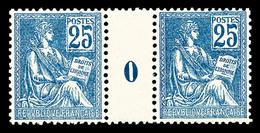 ** N°118, 25c Bleu Type II En Paire Millésime '0', TRES BON CENTRAGE, SUPERBE (certificat)  Qualité: **  Cote: 2475 Euro - Millésimes