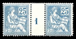 ** N°118, 25c Bleu Type II En Paire Millésime '1', SUP (certificat)  Qualité: **  Cote: 1100 Euros - Millésimes