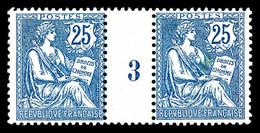 ** N°127, Mouchon, 25c Bleufoncé En Paire Millésime '3'. SUP (certificat)  Qualité: **  Cote: 1200 Euros - Millésimes