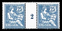 ** N°127, Mouchon Retouché, 25c Bleu En Paire Millésime '2', Très Beau (signé Brun/certificat)  Qualité: **  Cote: 1000  - Millésimes