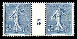 ** N°132, 25c Bleu En Paire Millésime '5', TB (certificat)  Qualité: **  Cote: 700 Euros - Millésimes