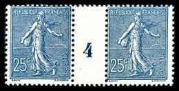 ** N°132, 25c Bleu En Paire Millésime '4', TTB (certificat)  Qualité: **  Cote: 620 Euros - Millésimes
