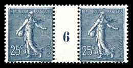 ** N°132, 25c Semeuse, Bleu Foncé En Paire Millésime '6'. TTB  Qualité: **  Cote: 580 Euros - Millésimes