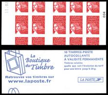 ** N°3419C16, Luquet TVP Rouge, Carnet De 10 Autocolant, PREDECOUPAGE A CHEVAL Des Timbres Et De La Couverture, Moins De - Variedades: Carnets