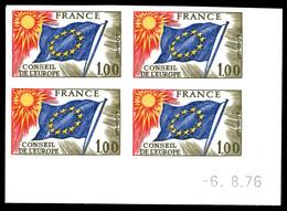 ** N°49, 1f Conseil De L'Europe En Bloc De 4 Cdf Daté. TB  Qualité: **  Cote: 240 Euros - Francia